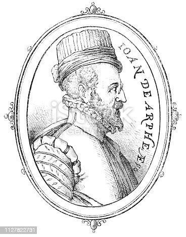 Portrait of Juan de Arfe y Villafañe, Spanish engraver and goldsmith (1535 – 1603) from Magasin Pittoresque. Vintage etching circa mid 19th century.