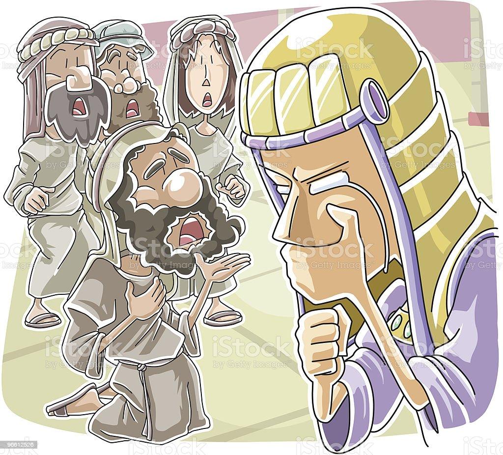 Judah's entreaty to save Benjamin - Royaltyfri Be - Aktivitet vektorgrafik