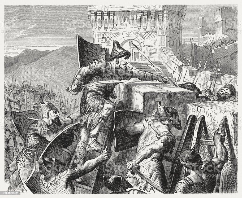 Judahs King Joash Conquers Jerusalem Published 1886 Stock