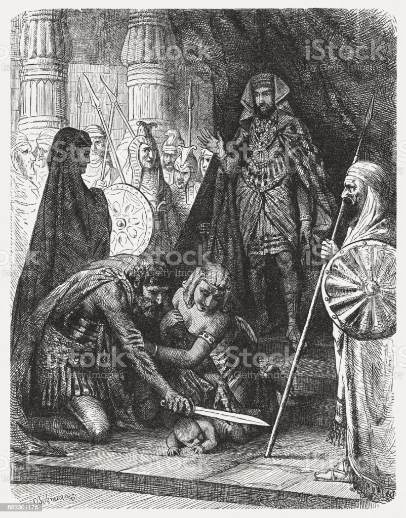 Judgement of Solomon (1 Kings 3), wood engraving, published 1880 royalty-free judgement of solomon wood engraving published 1880 stock vector art & more images of adult