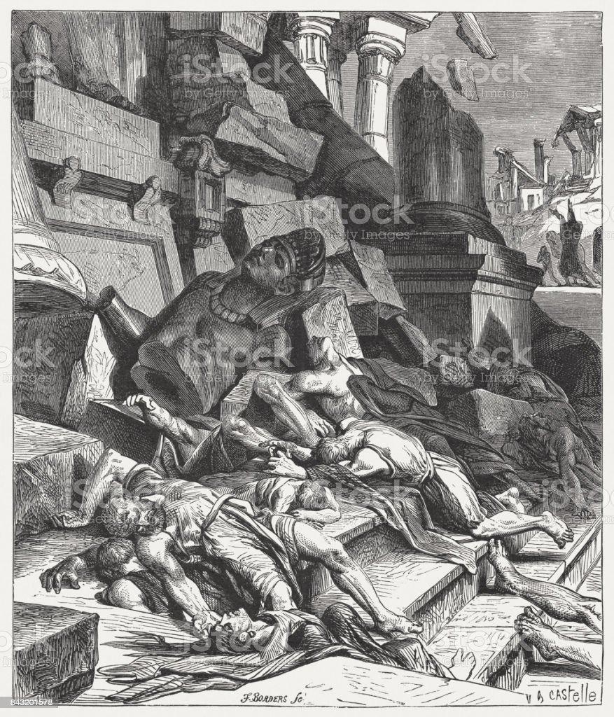 Judgment concerning the idolatrous Israelites (Ezekiel 6, 3-7), published 1886 vector art illustration