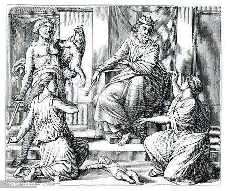 The Judgment of Solomon is a story from the Hebrew Bible in which King Solomon of Israel ruled between two women both claiming to be the mother of a child. Original edition from my own archives Source : Biblische Geschichte 1882