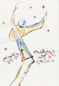 fantasy watercolor picture, juggler with sky stars