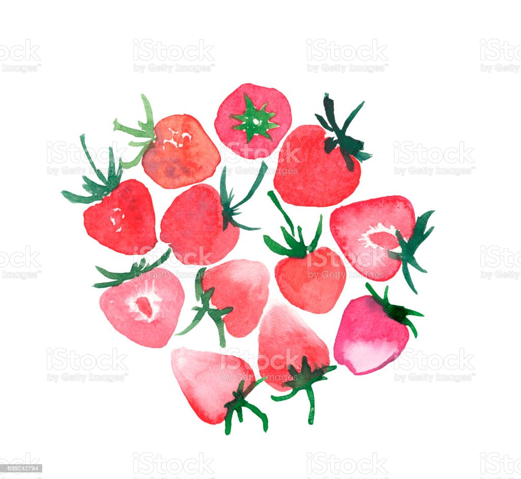 Juicy strawberries group watercolor hand sketch vector art illustration