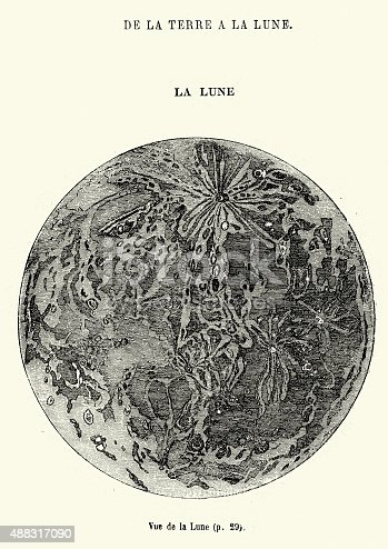 Vintage engraving showing a scene from the Jules Verne novel De la terre a la lune (From the Earth to the Moon).  It tells the story of the Baltimore Gun Club, a post-American Civil War society of weapons enthusiasts, and their attempts to build an enormous sky-facing Columbiad space gun and launch three people in a projectile with the goal of a moon landing.