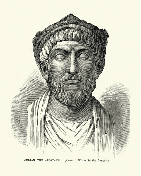 Julian the Apostate, Roman emperor Vintage engraving of Julian the Apostate,  Roman emperor from 361 to 363. A member of the Constantinian dynasty, Julian became Caesar over the western provinces by order of Constantius II in 355 and in this role campaigned successfully against the Alamanni and Franks. apostasy stock illustrations