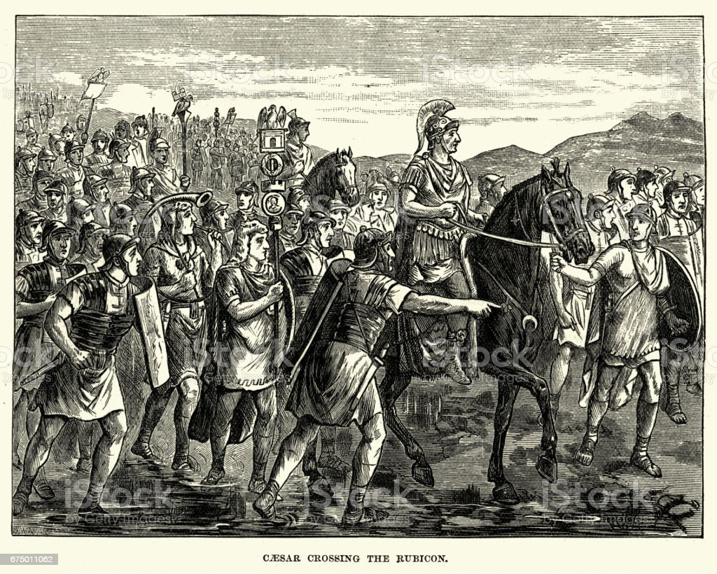 Julius Caesar leading his army across the Rubicon vector art illustration