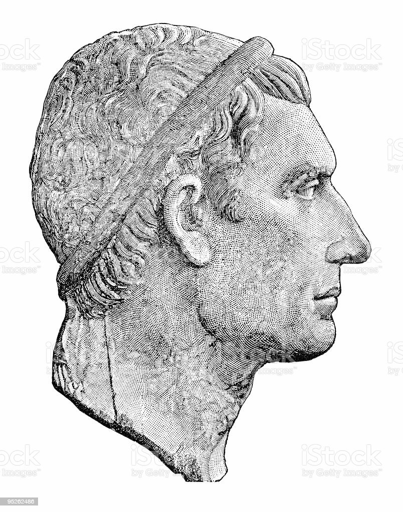 Julius Caesar, with clipping path royalty-free stock vector art
