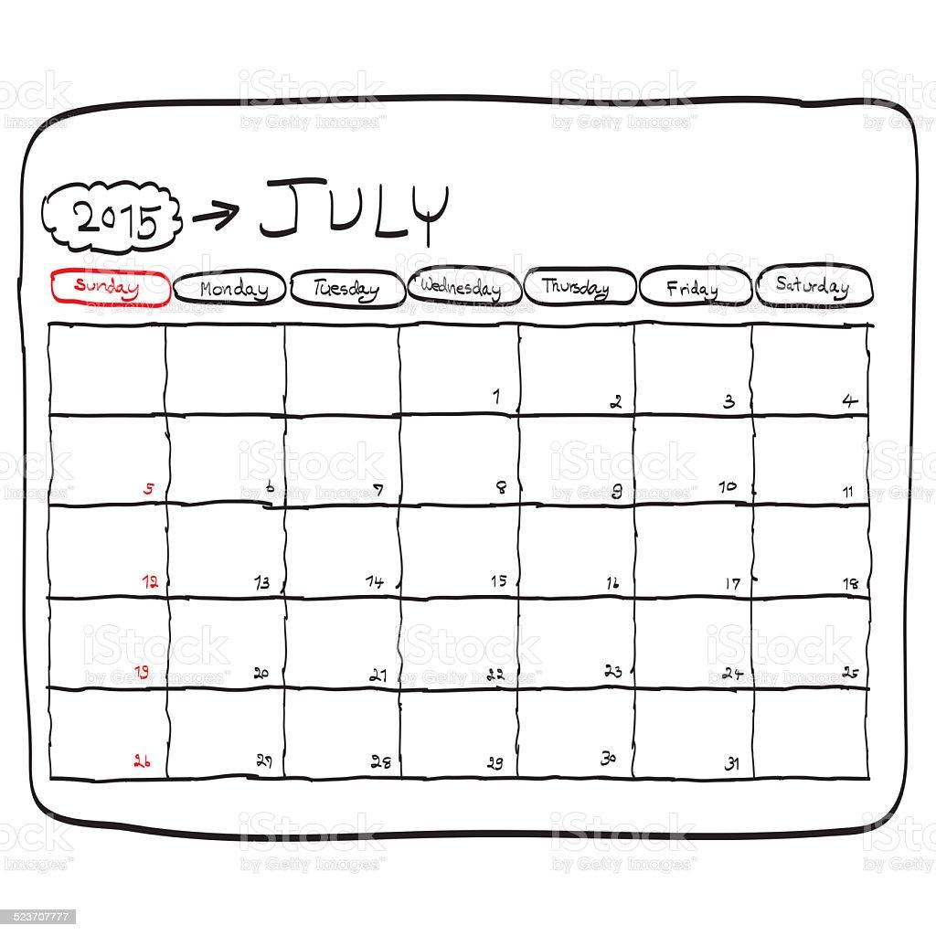 july 2015 planning calendar doodles hand drawn stock vector art