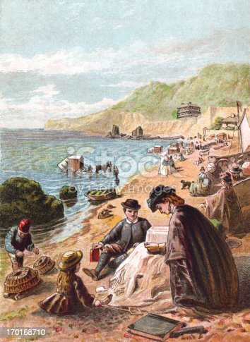 "Victorian bathing machines protect the modesty of the bathers on this busy summertime beach. From ""Pictures from Nature"" by Mary Botham Howitt, published by George Routledge & Sons, London, in 1869 with illustrations printed in colour by Kronheim & Co. Each illustration relates to a month of the year."