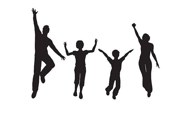 jump family of four vector art illustration