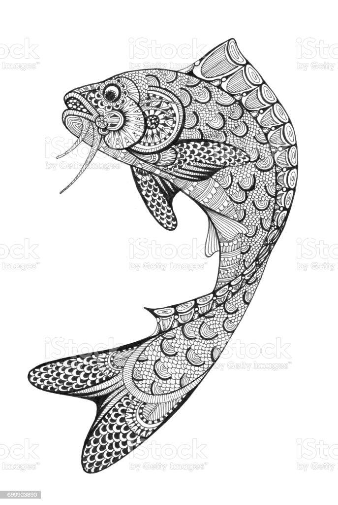 Jumping Fish Doodle Drawing vector art illustration