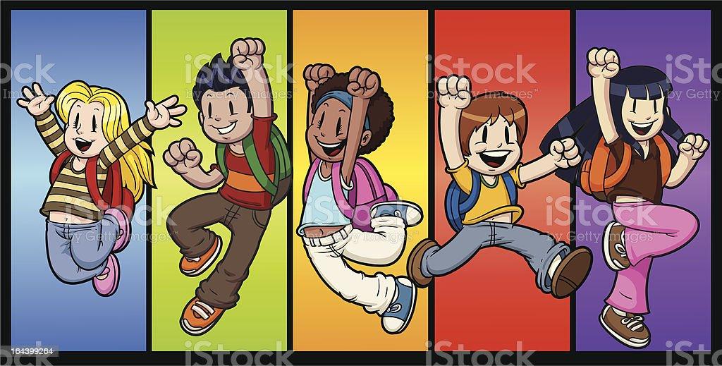 Jumping kids royalty-free stock vector art