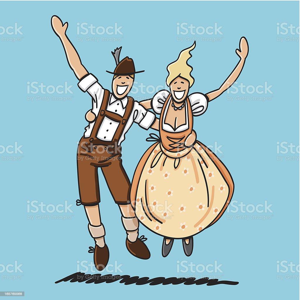 Jumping Oktoberfest Lovers vector art illustration