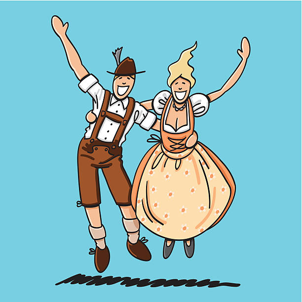 "Jumping Oktoberfest Lovers ""Vector illustration of a bavarian couple in Dirndl and Lederhosen, who are jumping and waving. The line art, color and background are on separate layers, so you also can use the illustration on your own background. The colors in the .eps-file are ready for print (CMYK). Included files: EPS (v8) and Hi-Res JPG."" doodle NOT black and white stock illustrations"