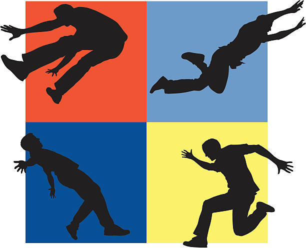 Jumping People Silhouettes vector art illustration