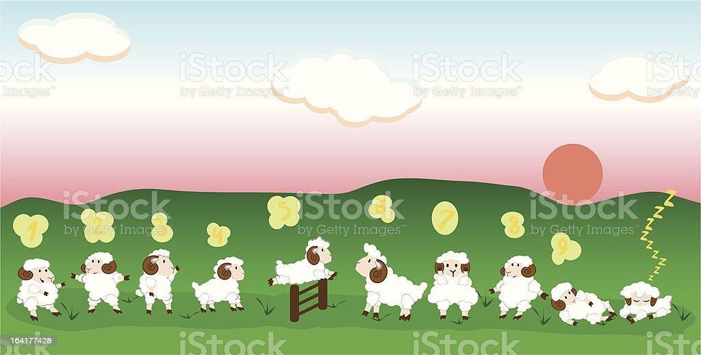 Jumping sheeps royalty-free stock vector art