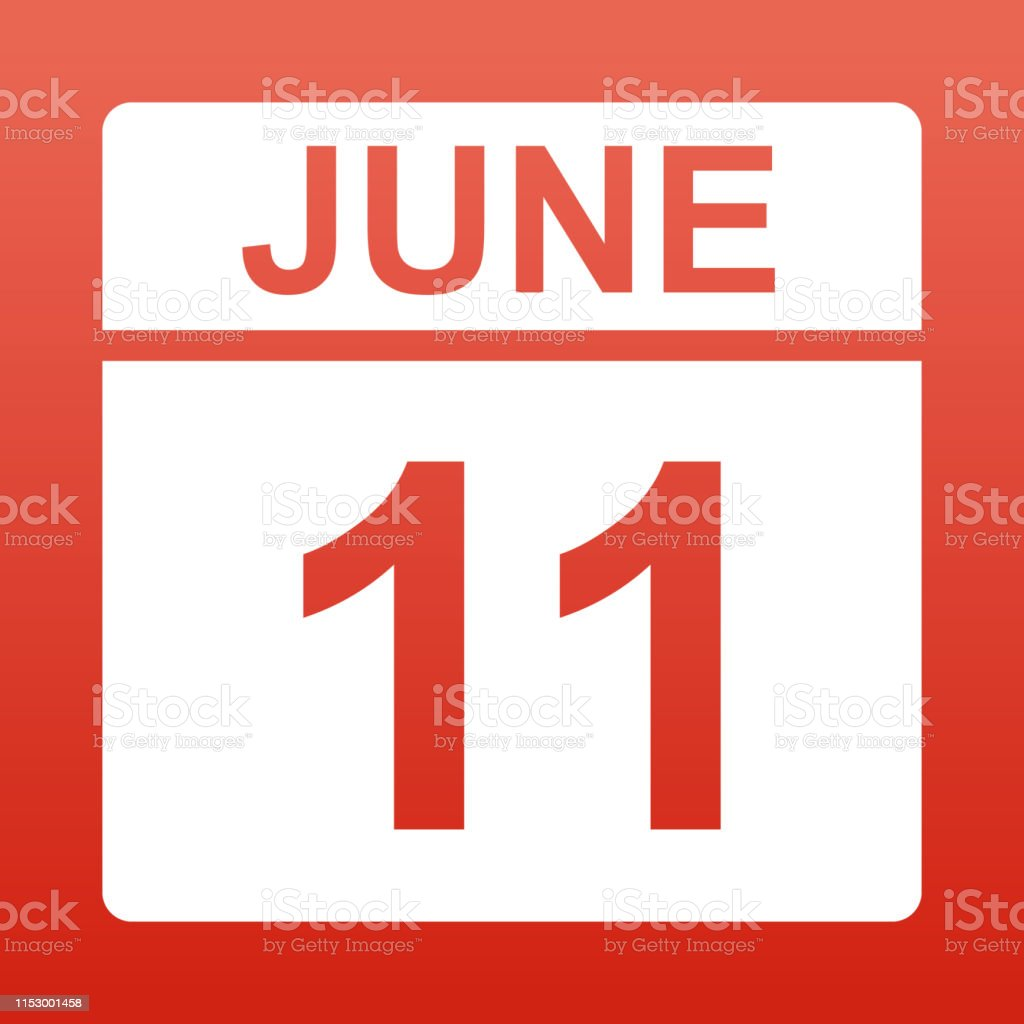 June 11. White calendar on a colored background. Day on the calendar....