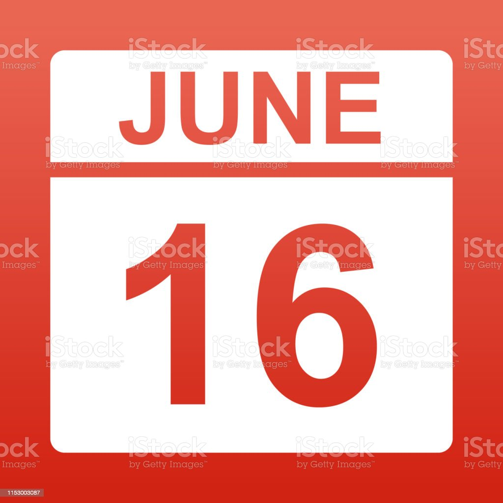 June 16. White calendar on a colored background. Day on the calendar....