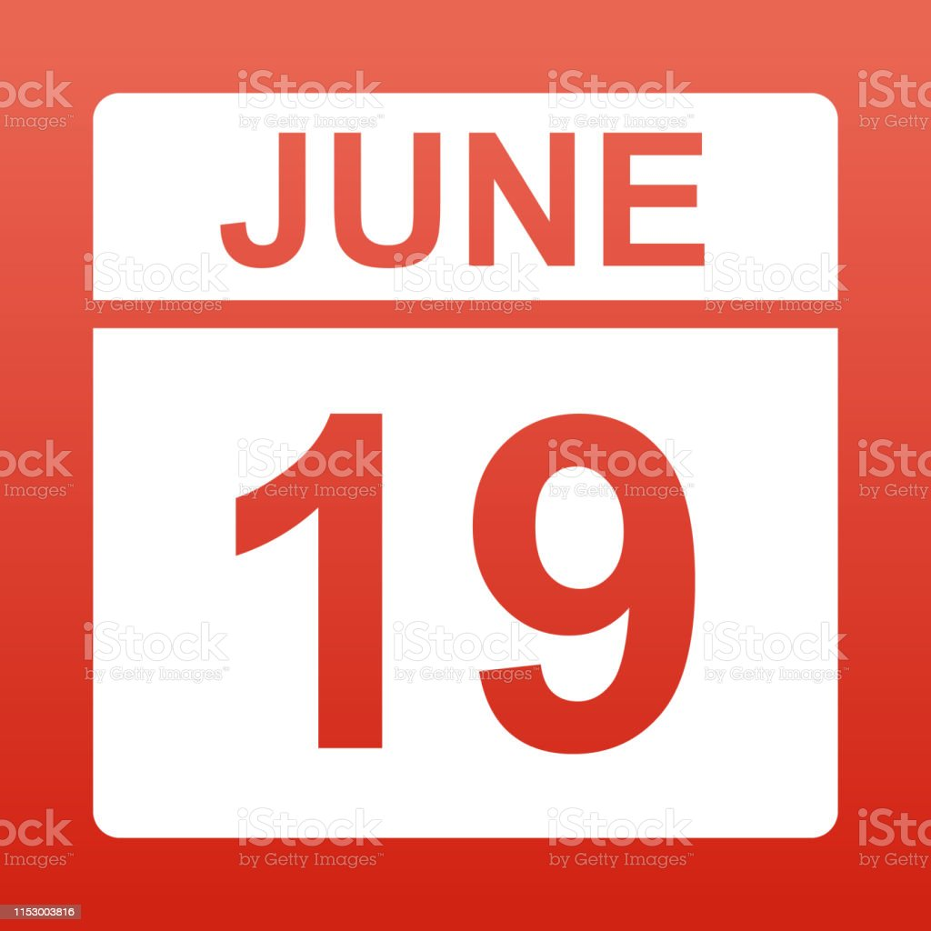 June 19. White calendar on a colored background. Day on the calendar....