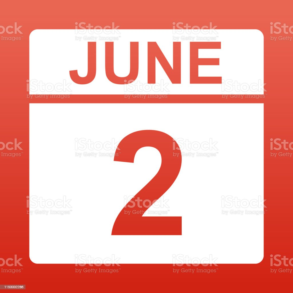 June 2. White calendar on a colored background. Day on the calendar....