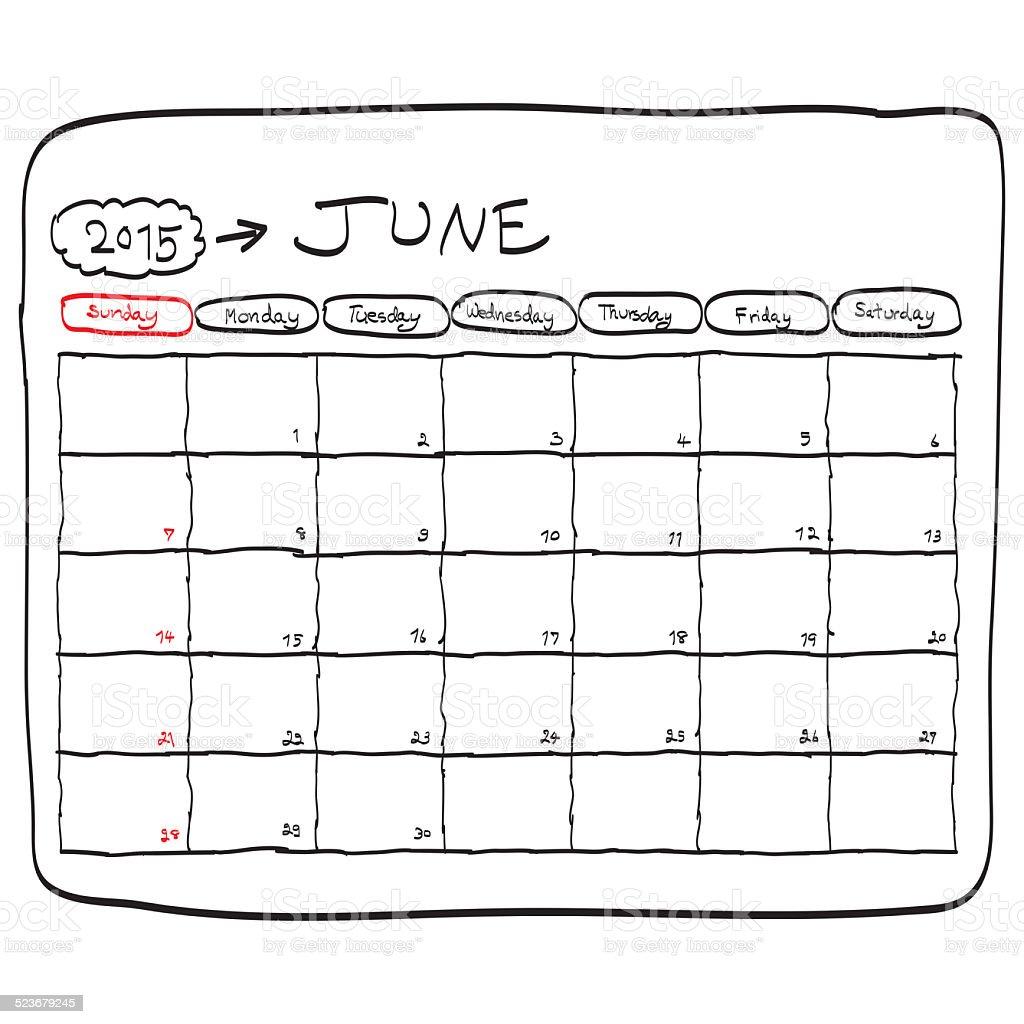 june 2015 planning calendar, doodles hand drawn vector art illustration