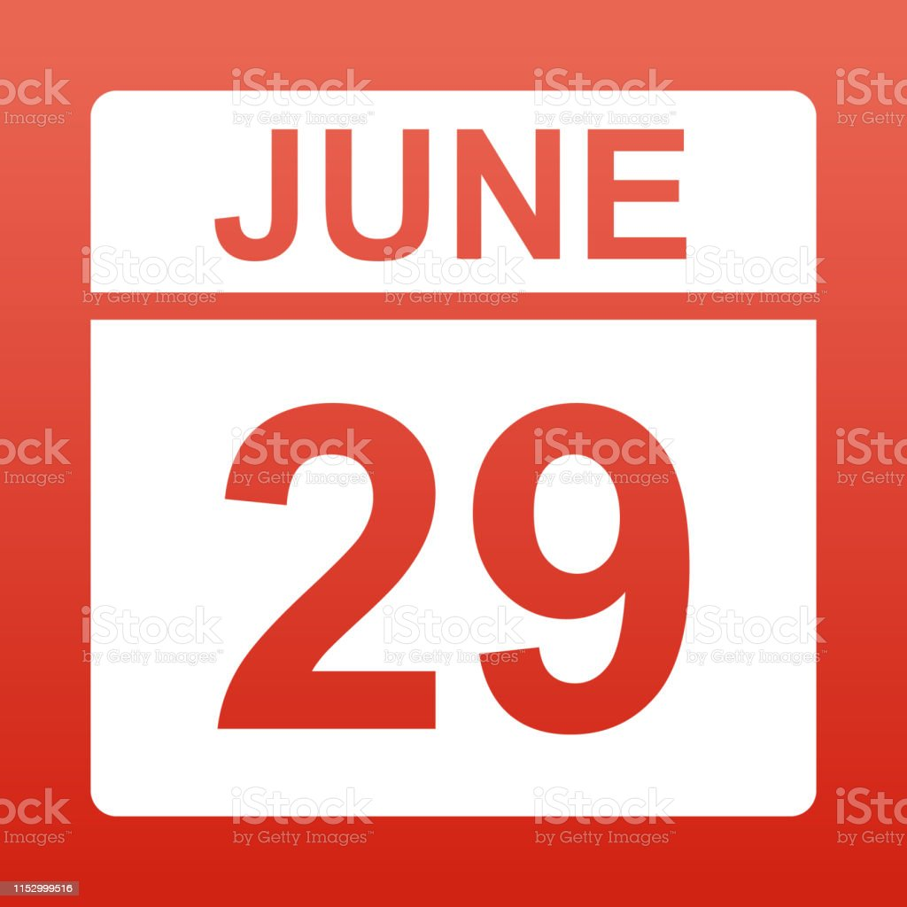 June 29. White calendar on a colored background. Day on the calendar....