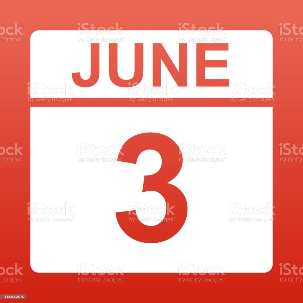 June 3. White calendar on a colored background. Day on the calendar....