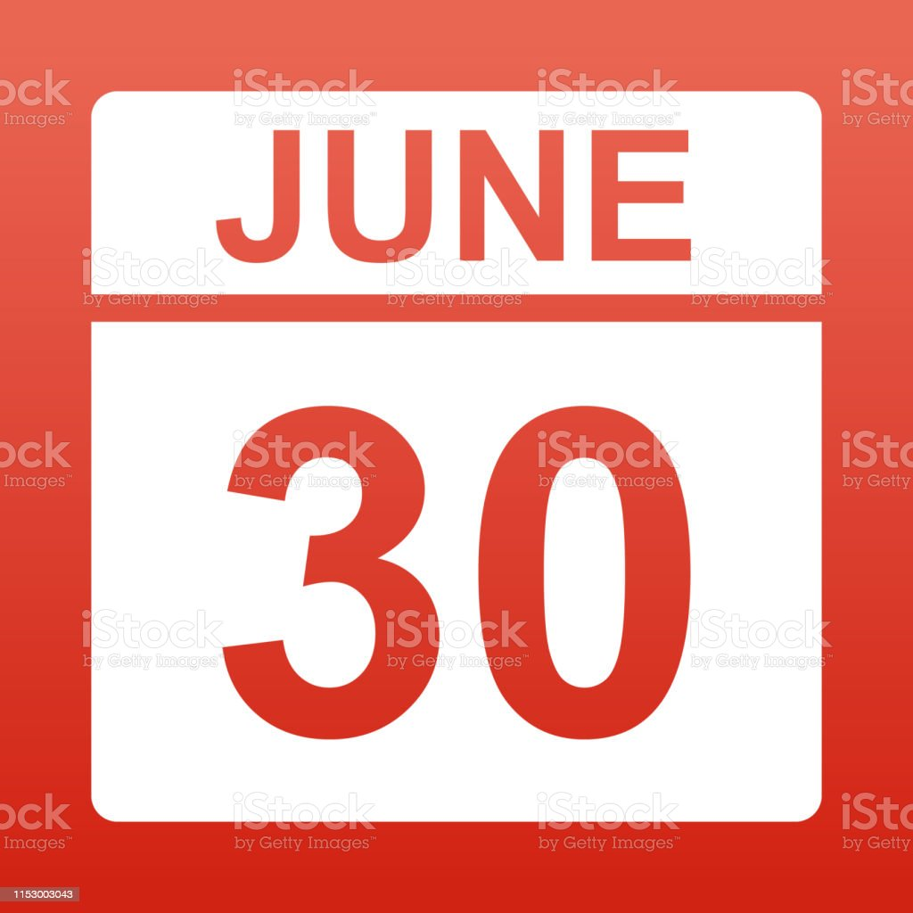 June 30. White calendar on a colored background. Day on the calendar....