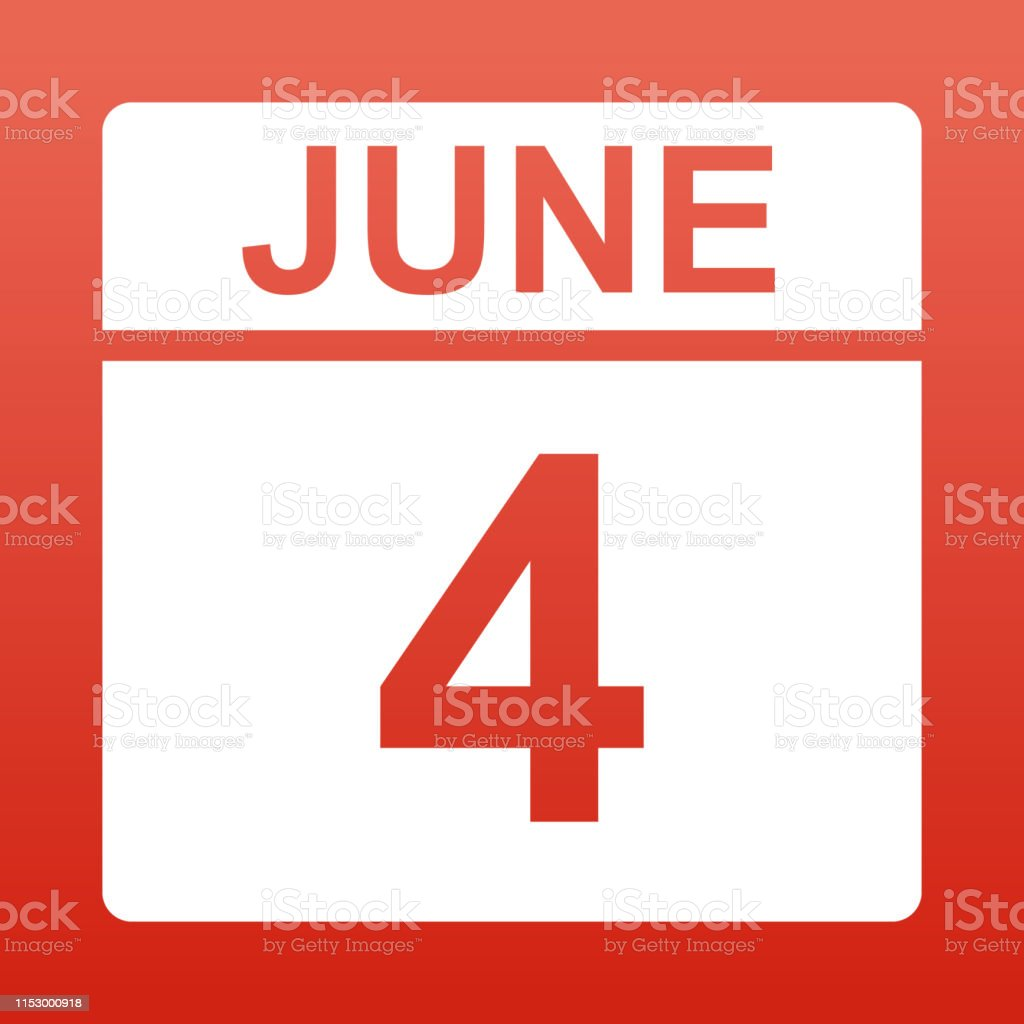 June 4. White calendar on a colored background. Day on the calendar....