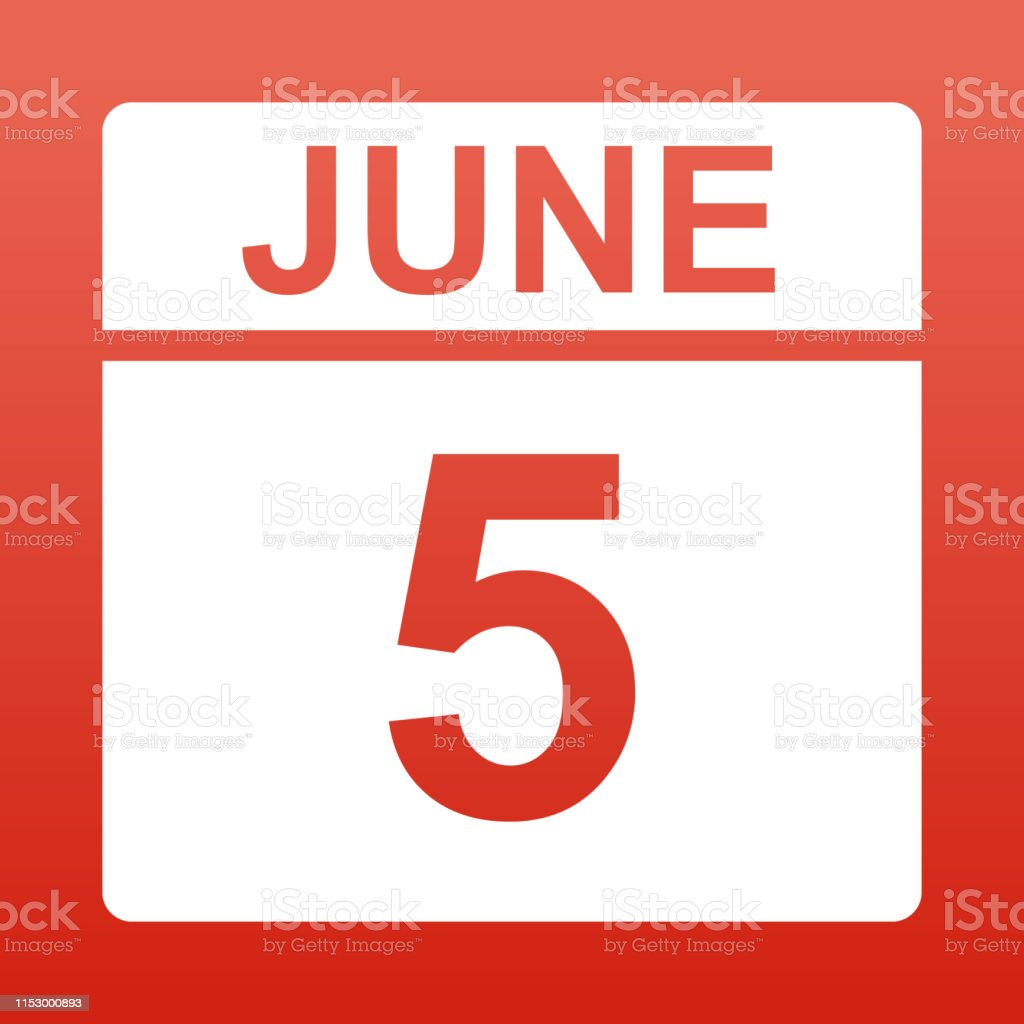 June 5. White calendar on a colored background. Day on the calendar....