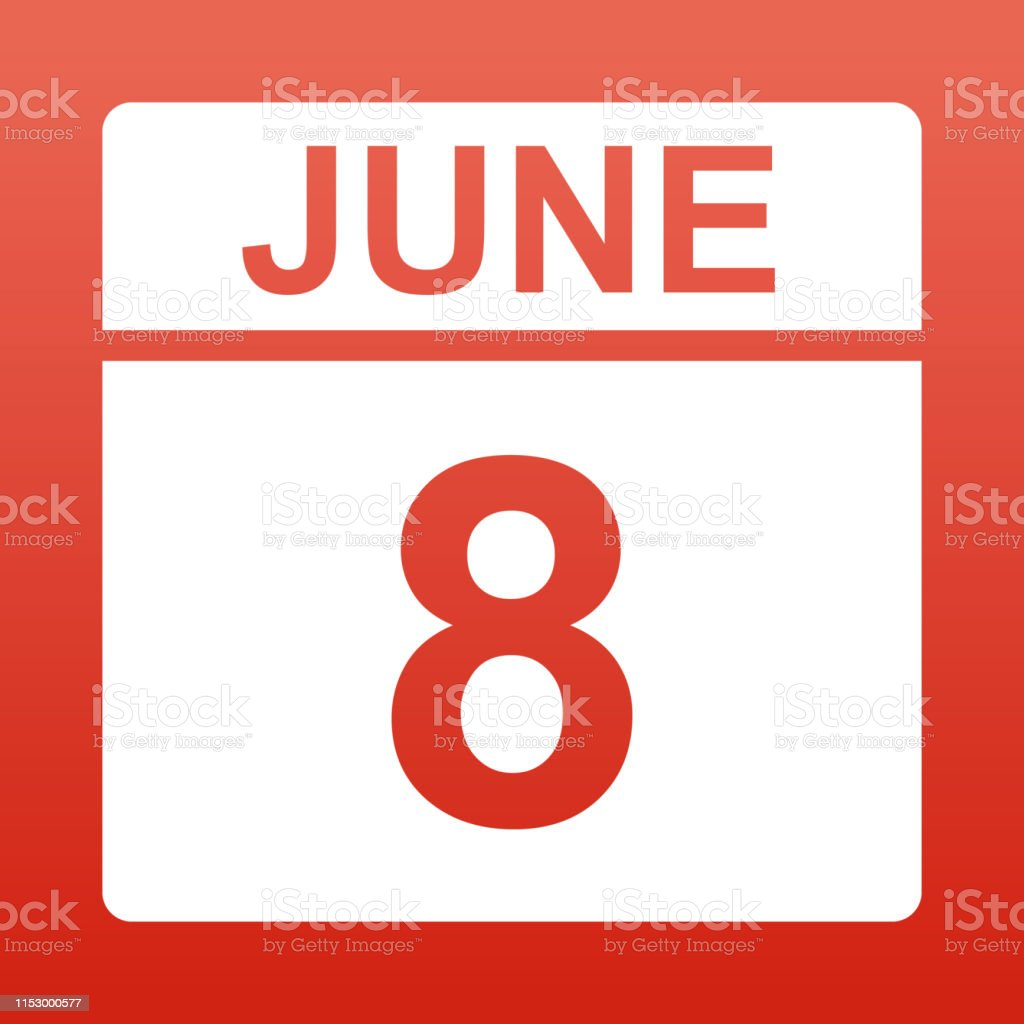 June 8. White calendar on a colored background. Day on the calendar....