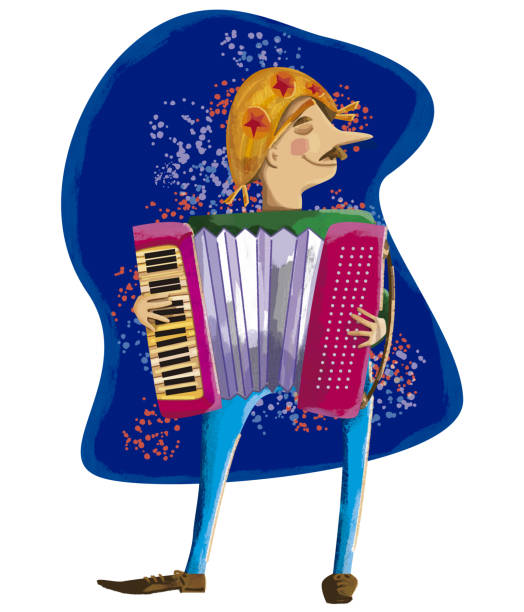 Junina's Party Festival with accordion music traditional junina party lively with lots of music playing accordion pedreiro stock illustrations