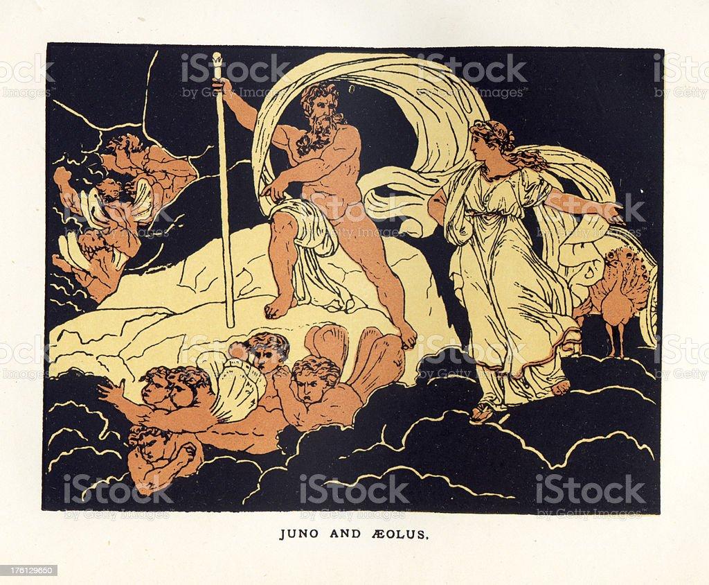 Juno and Aeolus vector art illustration