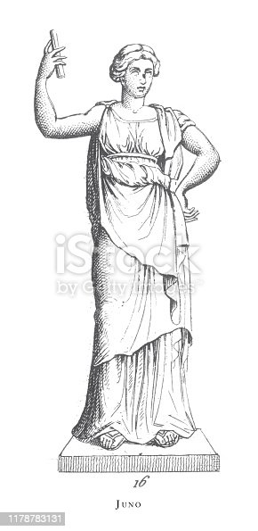 Juno, Legendary Scenes and Figures from Greek and Roman Mythology Engraving Antique Illustration, Published 1851. Source: Original edition from my own archives. Copyright has expired on this artwork. Digitally restored.