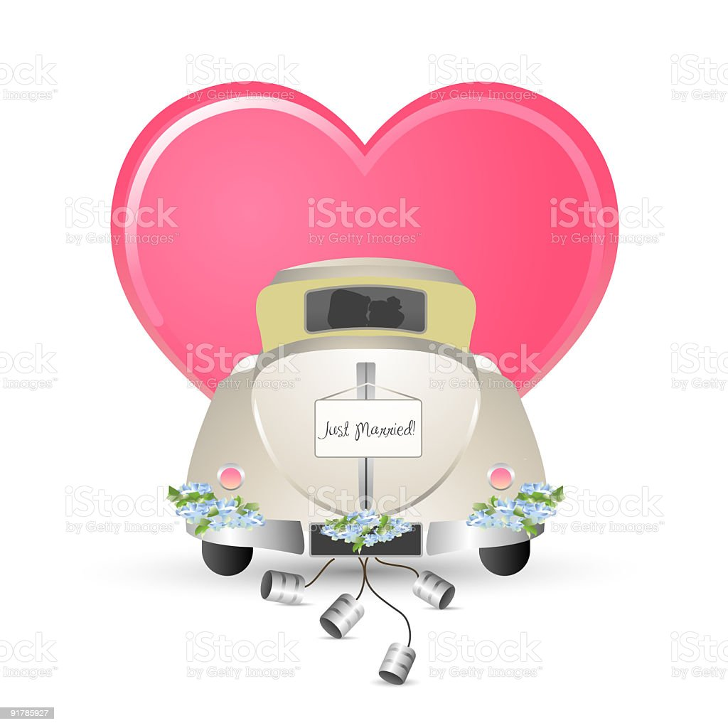 Just Married Car royalty-free stock vector art