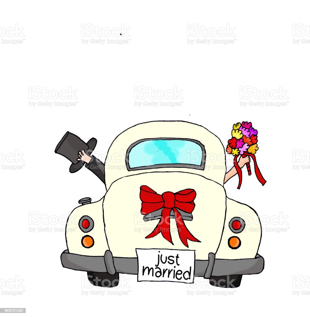 Just Married - Couple in pink car vector art illustration