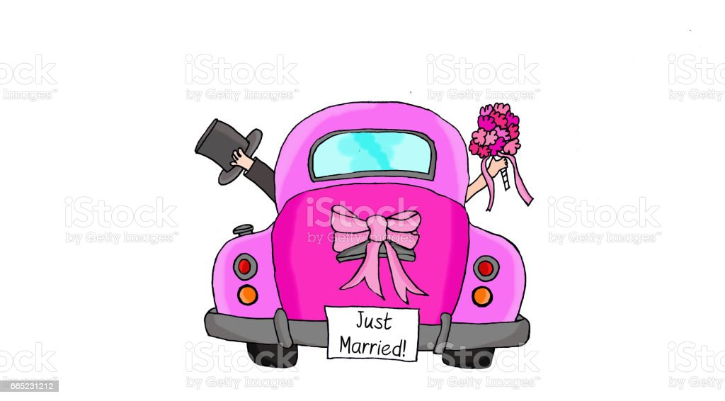 royalty free just married car clip art vector images rh istockphoto com marriage clipart with cross marriage clip art christian