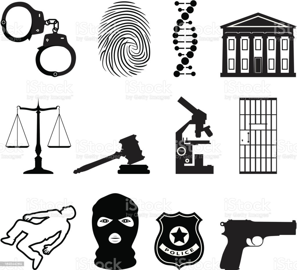 Justice and crime icons royalty-free stock vector art