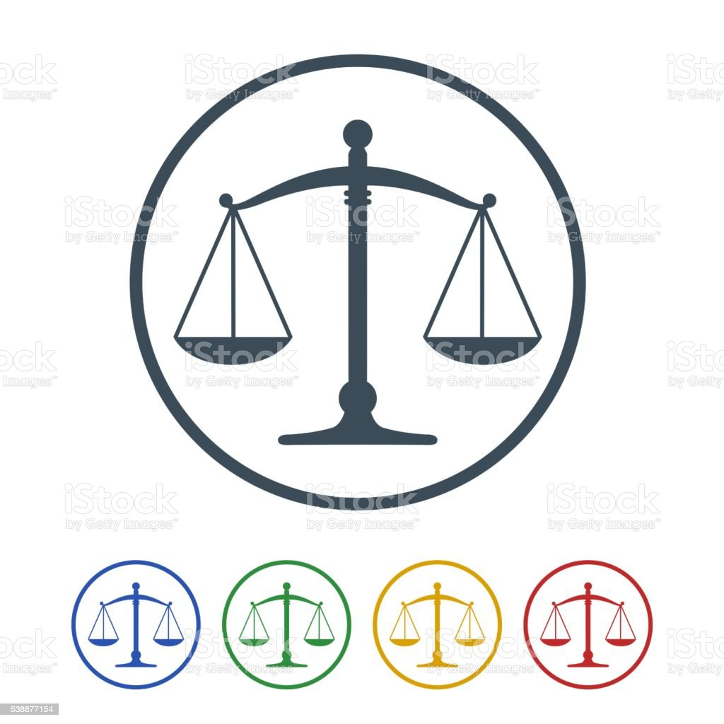 justice icon isolated on white background vector art illustration