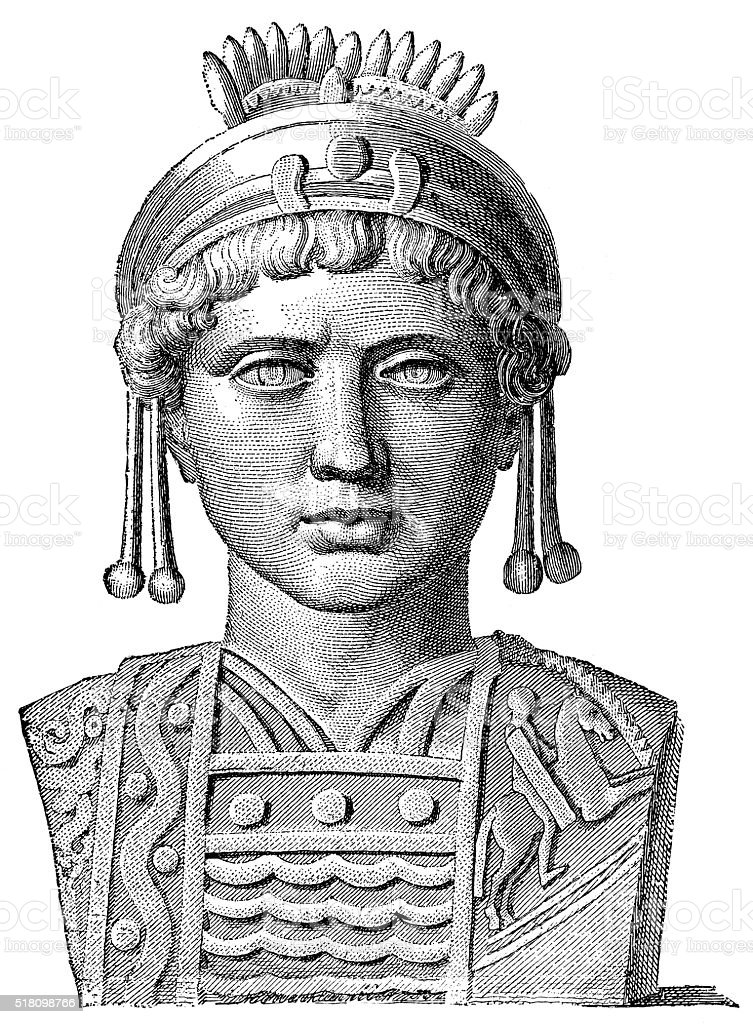 Justinian I - Byzantine Emperor Engraving from 1894 showing Justinian I also known as Justinian The Great who was the Byzantine Emperor from 525-565 AD. Justinian I stock illustration