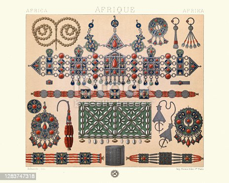 istock Kabyle jewellery, diadem, earrings, necklaces, North Africa, 19th Century 1283747318