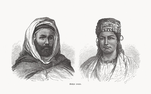 Kabyle man and woman in Algeria, wood engravings, published 1893