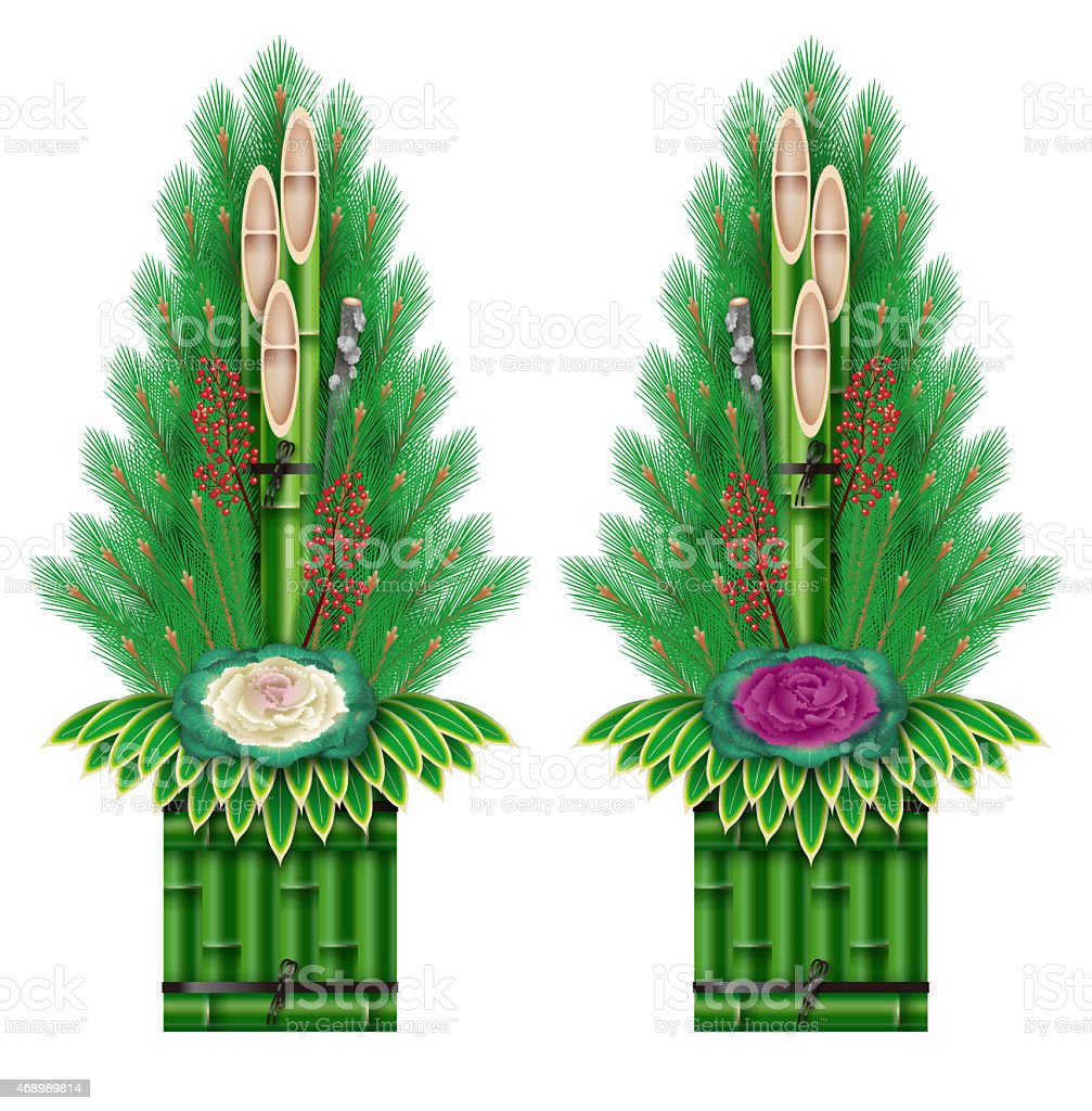 Kadomatsum, Japanese New year's pine decoration. vector art illustration