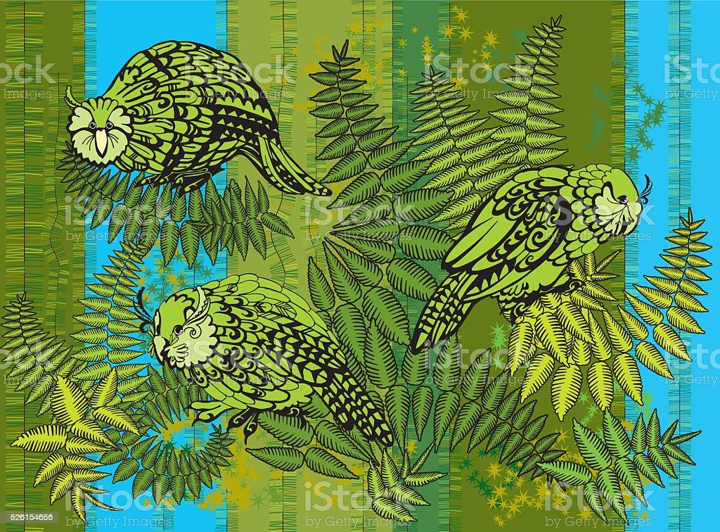 Kakapo illustration vector art illustration