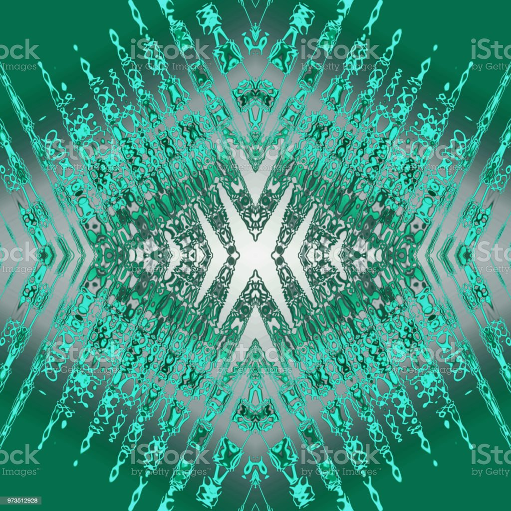 Kaleidoscope Pattern With Bright Mint Stains Streaks Strokes On