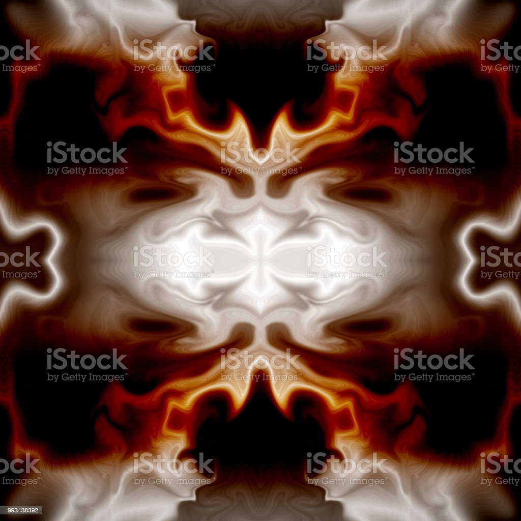 Kaleidoscope Pattern With Fire Effect Abstract Dark Red Gray Silver