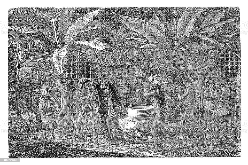 Kamakan dance, South America (antique wood engraving) vector art illustration