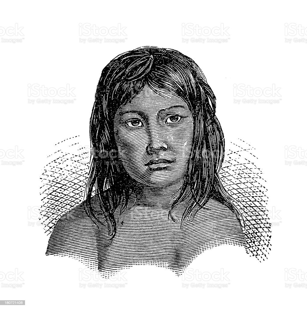 Kamakan woman, South America (antique wood engraving) vector art illustration
