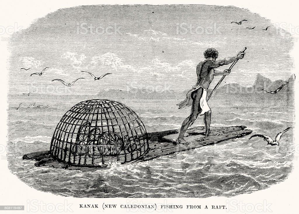 Kanak fishing from a raft vector art illustration